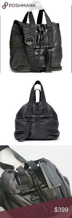 NWT SALE Alexander Wang x h&m leather bag SALE from $399Brand new with tag! Authentic leather bag from Alexander Wang x H&M 2014 collection. Never used and kept in storage. It has a drawstring at top. It has double handles and adjustable shoulder strap. Exterior zip pocket and three inner compartments, one with zip. The inside is made out of mesh and protective rubber bottom with AW raised feet. WANG webbed handles, strap, zipper pulls, and sides. Approximate size 9 3/4 * 11 inches without…