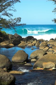 River & Ocean in Kauai, Hawaii  #Travel Destinations #Beach