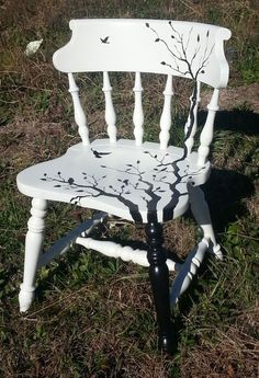"One-of-a-kind best describes this repurposed saddle seated barrel accent chair.. It has been hand painted with tree branchs and birds. The white is an ""old white"" and the design is hand painted with black. Another piece of repurposed furniture that is perfectly repurposed at Just Repurposed in Hanceville, AL. www.justrepurposed.com #ChairRepurposed"