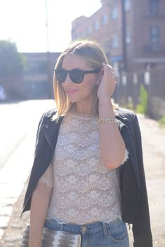 Emily Schuman: lace, leather and ripped denim