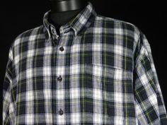L L Bean Flannel Shirt Mens 2XLT Tall XXLT Green Blue White Red Plaid LS Cotton #Shopping #Style #Endingsoon http://r.ebay.com/8k53iY