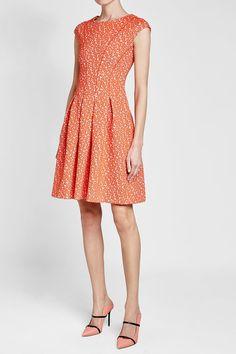 HUGO - Dawinja Printed Dress with Cotton | STYLEBOP Orange Fashion, Orange Style, Short Sleeve Dresses, Printed, Cotton, Shopping, Fashion Styles, Clothing, Prints