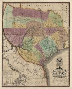 Texas 1837 by Stephen F Austin #map #texas