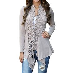 Women Irregular Floral Knitted Cardigan Bandage Sweater Loose Outwear Jacket M Gray *** Read more reviews of the product by visiting the link on the image.(This is an Amazon affiliate link and I receive a commission for the sales)