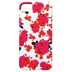 Retro Abstract Floral Case Red/White/Pink iPhone 5/5S Case