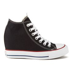Converse Women's Chuck Taylor All Star Lux Hidden Wedge Canvas... ($92) ❤ liked on Polyvore featuring shoes, sneakers, converse, black, hidden wedge sneakers, canvas sneakers, black sneakers and converse sneakers