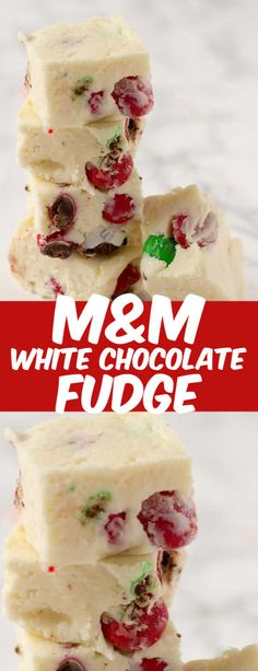 This 3 Ingredient White Chocolate Fudge has the hint of peppermint from Peppermint M&Ms. Easily change up the flavors of this easy white chocolate fudge recipe made with just 3 ingredients! Easy White Chocolate Fudge Recipe, Homemade Chocolate, Chocolate Fudge Recipes, White Chocolate Desserts, Easy Fudge, Chocolate Fondant, Chocolate Brown, Christmas Fudge, Christmas Candy