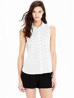 Women's Polka-Dot Sleeveless Shirts   Old Navy