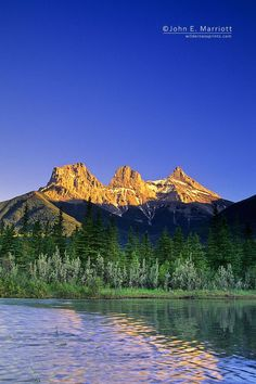 The Three Sisters and the Bow River, Canmore, Alberta, Canada