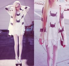 Romwe.Com Cat Face Sweater, Free People Lace Slip, Wildfox Couture Lonestar Platform