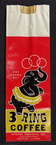 This bag has so many family connections... hereditary coffee addiction, its a 3 ring circus, B&L elephants, Chicago...n#coffee #packaging #bags for more information visit us at www.coffeebags.co.za