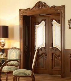 New Design Porte Double Door Design, Door Gate Design, Classic Doors, Home Ceiling, House Doors, Home Decor Furniture, Wooden Doors, Wood Design, Victorian Homes