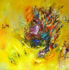 Halo by Victoria Horkan, Abstract Art, Oil Painting, Canvas. Bright, modern, yellow artwork. Check it on Rise Art.