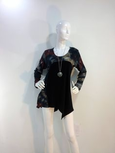 Size S tie dye tunic top with long sleeves, pocket and asymmetrical hemline in bamboo blend fabric. by qualicumclothworks on Etsy