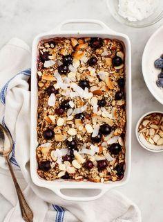 Blueberry Coconut Bake Oatmeal (vegan) with hemp seeds