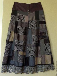"""Юбки ручной работы. Ярмарка Мастеров - ручная работа. Купить Лоскутная юбка """"Субботний вечер"""". Handmade. Темно-серый, абстрактный"""