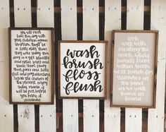 Wash Brush Floss Flush wood sign by helloLouLou on Etsy