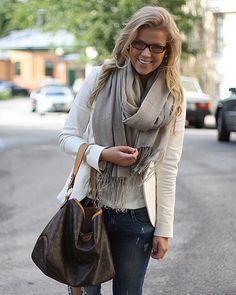white blazer + scarf + dark denim + nerd glasses