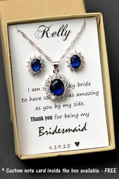 Navy blue,sapphire blue Wedding Jewelry Bridesmaid Gift Bridesmaid Jewelry Bridal Jewelry tear Earrings necklace SET,bridesmaid gift