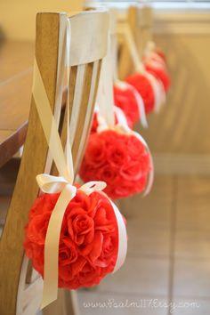 6 inch coral salmon rose flower balls pomander wedding hanging flower balls custom orders welcome - www.psalm117.etsy.com