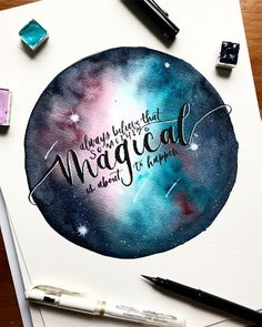 You can find Watercolor and more on our website. Watercolor Calligraphy Quotes, Calligraphy Quotes Doodles, Brush Lettering Quotes, Watercolor Quote, Watercolor Galaxy, Hand Lettering Quotes, Galaxy Painting, Galaxy Art, Calligraphy Art