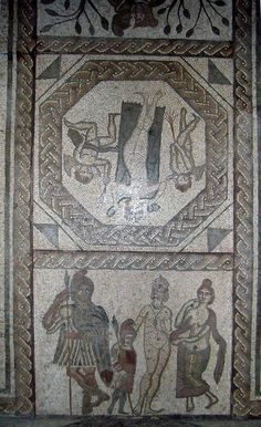 Low ham mosaic. Scenes depicting events from the Aeneid and in particular of the story of Aeneas and Dido. From the floor of the frigidarium of the baths of a Roman villa at Low Ham, Somerset, UK; 4th century CE. Taunton; Somerset County Museum. The villa appears to have been constructed around AD 340 on a gentle slope facing north-east, only about a mile from other villas at High Ham and Pitney. Aerial photography has shown that there are a number of farm buildings around a large…