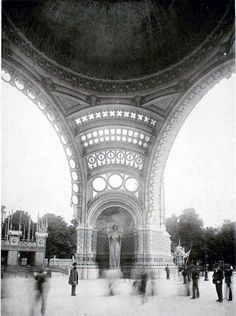 Inside the monumental gate of the World's Fair in 1900, Paris