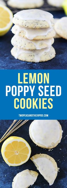 Lemon Poppy Seed Cookies Soft lemon cookies with poppy seeds and a sweet lemon glaze. A great dessert for spring, summer, or anytime! Great Desserts, Delicious Desserts, Dessert Recipes, Lemon Cookies, Cookies Soft, Shortbread Cookies, Poppy Seed Cookies, Poppy Seed Cake, Summer Cookies