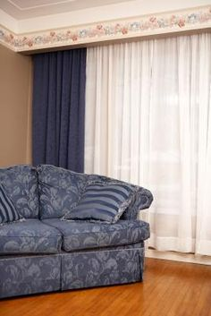 An intermediate skilled home sewer can utilize drapery maker tricks and successfully hang non–pinch-pleated drapes on a traverse rod, hiding the pins and providing enough support. Hanging Drapes, Drapes And Blinds, Long Curtains, Pleated Curtains, Drapes Curtains, Cornice Box, Wood Valance, Drop Cloth Curtains, Curtain Designs