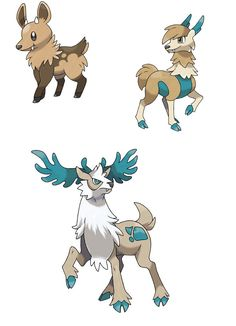 Fakemon<<<If they don't have names... Fawnillo- The Stag Pokémon. Grass/Normal This Pokémon uses it's adorable looks to draw lumberjacks away from the tree where it lives and takes them to its herd.  Hoovine- The Stag Pokémon  Grass/Normal Hoovine can run for miles, its hooves hard as lumber. It will attack whoever hurts its kin will pay dearly.  Stagarden- The Stag Pokémon  Grass/Ice Its powerful hind legs can crush a car. That's all you need to know.