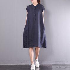 navy casual linen dresses plus size button sundress short sleeve maxi dress