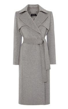 Trench-coat long en laine et cachemire