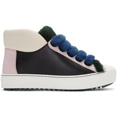 Fendi Multicolor Shearling Sneakers (5750055 PYG) ❤ liked on Polyvore featuring shoes, sneakers, multicolor, colorful high top sneakers, colorful shoes, lace up sneakers, lace up high top sneakers and lace up shoes