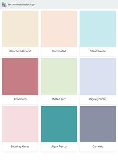 Bleached Almond, Enamored, Blowing Kisses, Illuminated, Misted Fern, Aqua Fresco, Silent Breeze, Vaguely Violet, Camelot