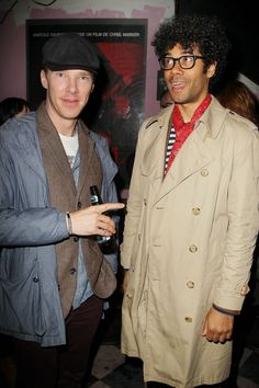"""Benedict Cumberbatch and Richard Ayoade at """"The Double"""" after party in NYC, April (Sherlock & Moss -- love it! Benedict Sherlock, Benedict Cumberbatch, Sherlock Fandom, Sherlock Bbc, Gorgeous Men, Beautiful People, Richard Ayoade, It Crowd, Imaginary Boyfriend"""