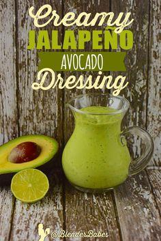 Creamy Jalapeño Avocado Dressing or Dip Recipe via @BlenderBabes | Add a little spice to your blender with this creamy healthy avocado jalapeño salad dressing recipe.