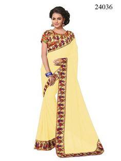 Cream Color Georgette Saree    #sarees #sari #saree #zinnga #zinngafashion #look #looking #new #trending #fashionable  #offers #deal #trend #popular #nice