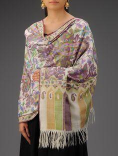 Ivory - Multi-Color Paisley Handwoven Handspun Kani Jamawar Pure Pashmina Shawl Kashmiri Suits, Kashmiri Shawls, Cashmere Shawl, Indian Textiles, Pashmina Shawl, Punjabi Suits, Paisley, Hand Weaving, Tunic Tops