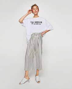 ZARA - SALE - ワイドパンツ Online Zara, Fade Styles, Trousers Women, Women's Trousers, Beautiful Outfits, Casual Outfits, Nice Outfits, Fashion Dresses, Women's Fashion
