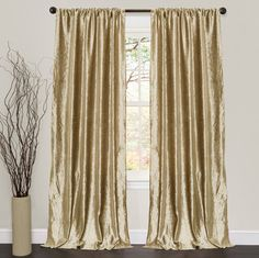 Lush Decor Velvet Dream Gold 84-inch Curtain Panel Pair - victorian - Curtains - Overstock.com