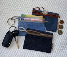 4 in 1 - denim sleutelhanger portemonnee / etui toets / coin purse / credit…