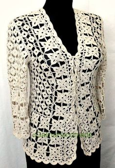 Crochet Summer Jacket Original Designe Irish Lace Beige