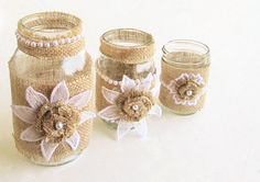 Burlap Wedding Centerpieces Lace Burlap Mason Jar by burlapshop, $16.95