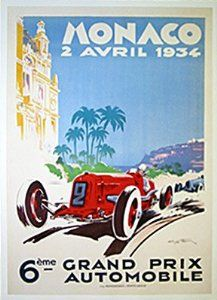 Monaco 1934 Grand Prix Vintage Car Poster by Geo Ham Sports Art Poster Print ...