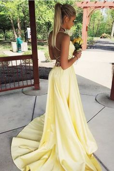 Prom dresses yellow - Spaghetti Straps Yellow Prom Dress with Split Long Backless Prom Gown – Prom dresses yellow Hoco Dresses, Backless Prom Dresses, Dance Dresses, Pretty Dresses, Homecoming Dresses, Beautiful Dresses, Yellow Prom Dresses, Dress Prom, Year 10 Formal Dresses