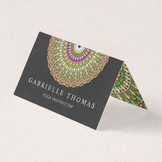 Shop Colorful Life Mandala Business Card created by ZyddArt. Folded Business Cards, Art Business Cards, Beauty Business Cards, Elegant Business Cards, Folded Cards, Business Card Design, Print Templates, Card Templates, Print Design