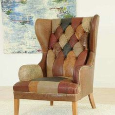james and roseu0027s clarence wingchair in patchwork leather see more wingback chair
