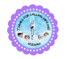 Disney Frozen Birthday Sticker - Favor Stickers - Personalized Bottom of kiss labels, to seal invite or on thank you / loot bags
