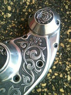 Engraving Ideas, Engraving Tools, Metal Engraving, Custom Engraving, Custom Choppers, Custom Bikes, Bike Details, Picture Engraving, Motorcycle Art