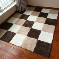 30cm/piece 9pcs/set Puzzle Mat  EVA Foam shaggy velvet Carpet  door mat Jigsaw Mat plush fabric Carpet Area Rug Room Floor Mats
